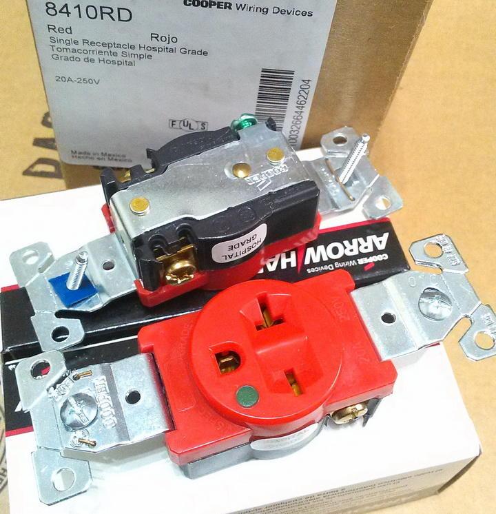 美國 Cooper 醫療級插座 8410RD (紅) 2P+E NEMA 6-20R 250V 20A 單孔220V