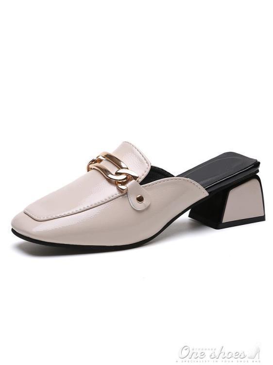 999小舖拖鞋女夏外穿時尚百搭正韓高跟穆勒鞋粗跟英倫風包頭半