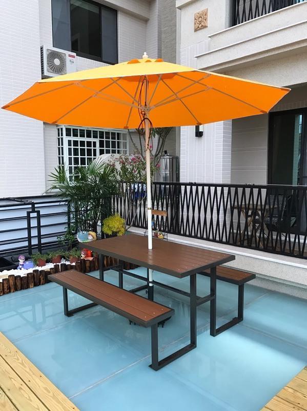 【加百列庭園休閒傢俱】歐式休閒戶外桌椅~塑木啤酒桌~野餐桌椅組含傘+傘座~7-11塑合桌椅~啤酒桌椅組~居家庭園戶外品茗