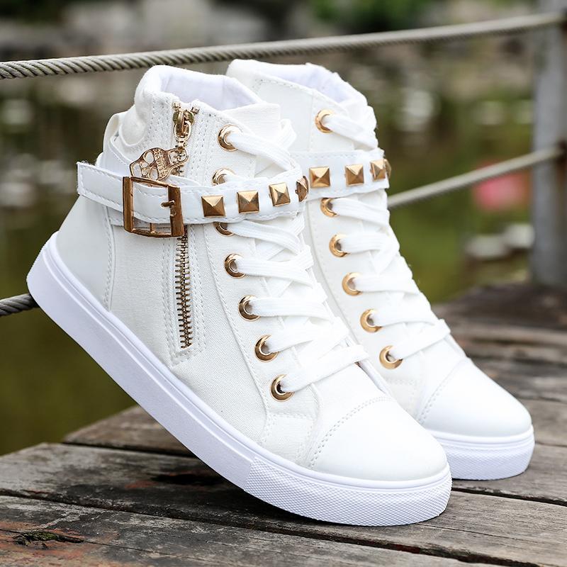 王俊凱同款高幫內增高白色帆布鞋子王源學生女鞋