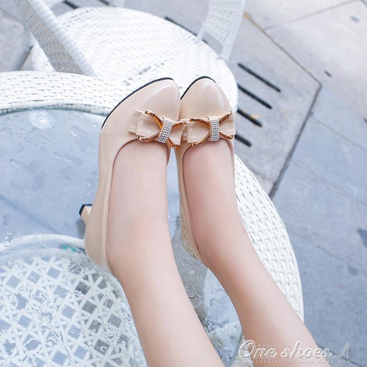 999小舖高跟鞋 甜美繫帶蝴蝶結高跟鞋甜美淺口單鞋正韓尖頭女鞋