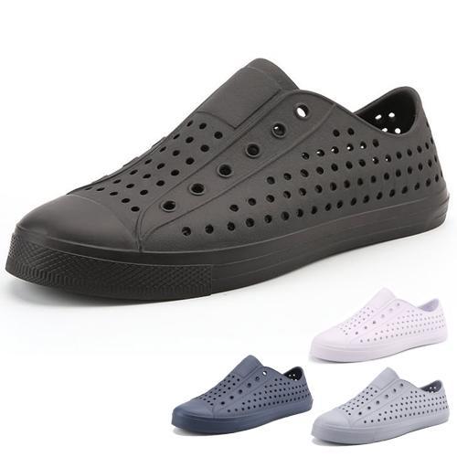 男女款 全色造型防水止滑小白鞋 全黑上班鞋 休閒鞋 懶人鞋 洞洞鞋 防水鞋 KM