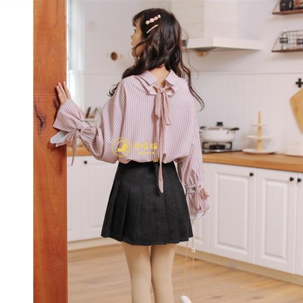 【晨曦貓】日系森林系 學院風甜美拼接綁帶直條紋喇叭袖長袖襯衫 BQ-90639