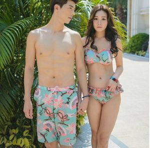韓國夏新款 情侶泳衣女分體比基尼三件套裙式小胸聚攏鋼托韓國溫泉遊泳裝  熱銷