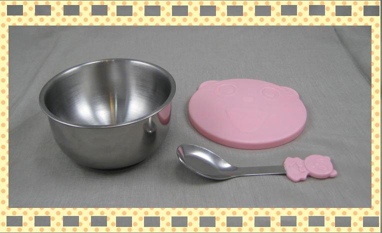 臺灣製 雙層不鏽鋼碗 彩色隔熱兒童碗 單入組(附湯匙、蓋子) 可用電鍋蓋子無洞款。全新品