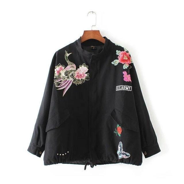 +MMC+ 歐美街頭潮流龐克帥氣復古中國風雕花繡花刺繡拼色寬鬆寬版少女運動bf風棒球飛行夾克外套風衣上衣女修身顯瘦好搭