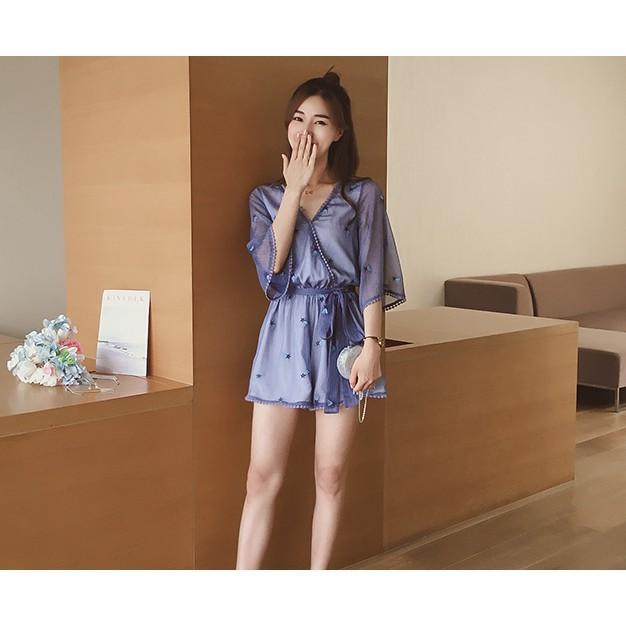 夏季新款2017韓版雪紡連體褲女裝V領闊腿褲喇叭袖高腰連衣短褲子