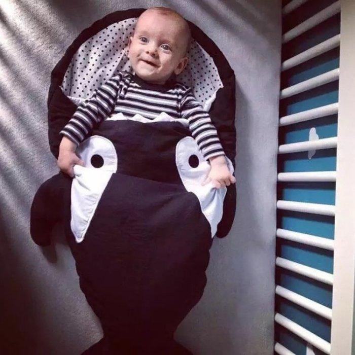 嬰兒睡袋_鯊魚睡袋新生兒防踢被春秋夏薄款兒童抱被嬰兒推車被寶寶睡袋