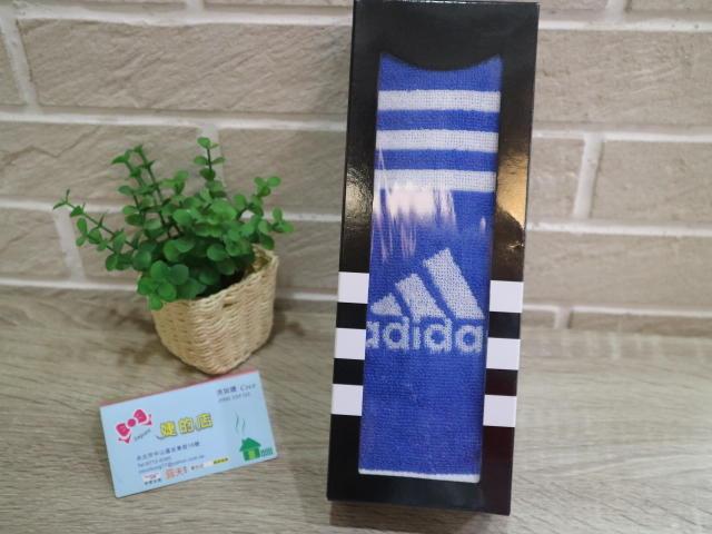 婕的店日本精品~日本帶回~adidas藍白色運動毛巾圍巾禮盒