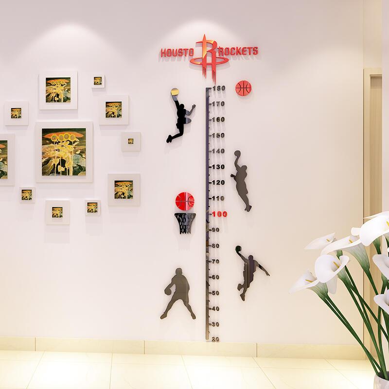 C-NBA籃球隊身高貼 壓克力立體壁貼 3D立體牆貼 房間裝飾 兒童房 臥室牆貼 客廳佈置牆貼