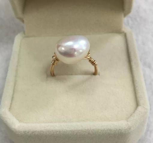 進店必買2號 天然淡水珍珠戒指 巴洛克珍珠戒指 14注金線手作