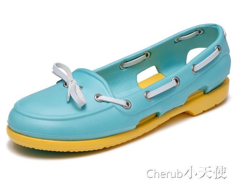 999小舖懶人鞋 懶人鞋女鞋海灘帆船鞋波特繫帶涼鞋洞洞鞋 JD 一