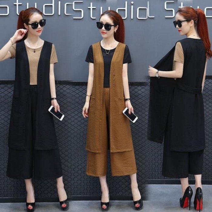 職業套裝-時尚闊腿褲套裝夏季女新款韓版氣質洋氣職業裝寬鬆馬甲三件套