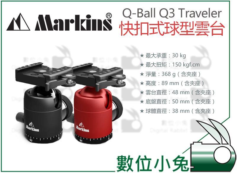 數位小兔【Markins Q-Ball Q3 Traveler 快扣式 球型雲台】可搭配 GITZO Manfrott