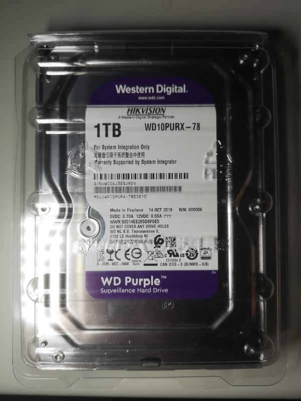 WD監控專用硬碟1TB(WD Purple監控系統硬碟,監視器儲存,DVR 錄影主機使用)