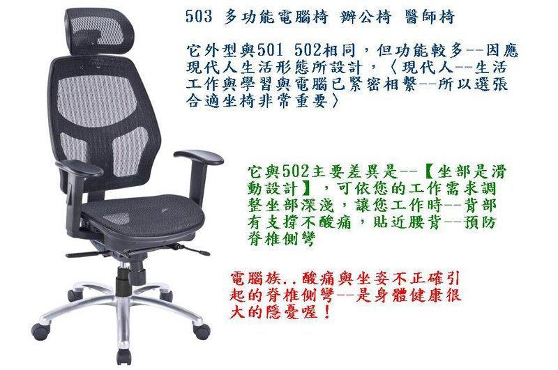 503【家的椅子 台灣製】高級網椅-醫師椅 會議椅 辦公椅 電腦椅...貨到付款免運費