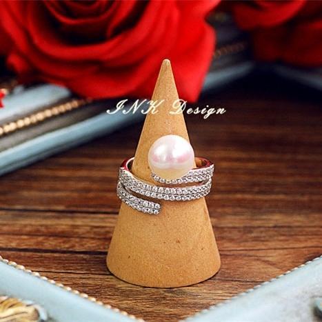 925純銀 天然淡水珍珠 鋯石戒指 不褪色 指環 歐美