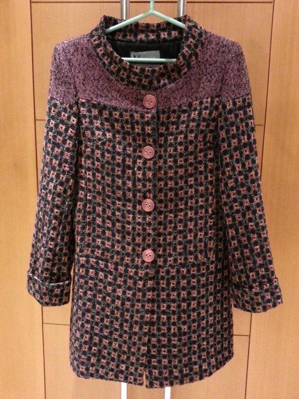 MON'S紫灰色格子長外套