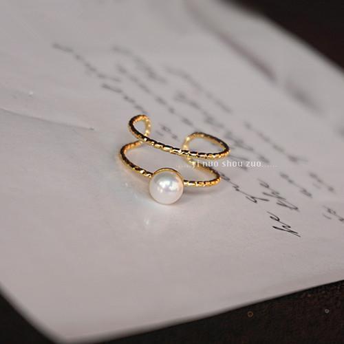 進口品質 時尚雙圈金色螺紋麻花戒指 強光淡水珍珠指環 不褪色