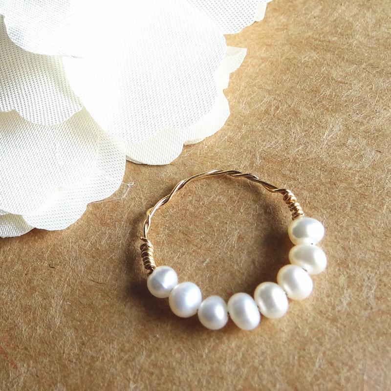 天使 繞指柔 月色 手工戒指 淡水迷你珍珠手工戒指 14金線指環