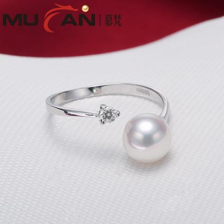 慕梵蘇醒 正圓強光 天淡水珍珠戒指 925銀 送女友禮物 然正品