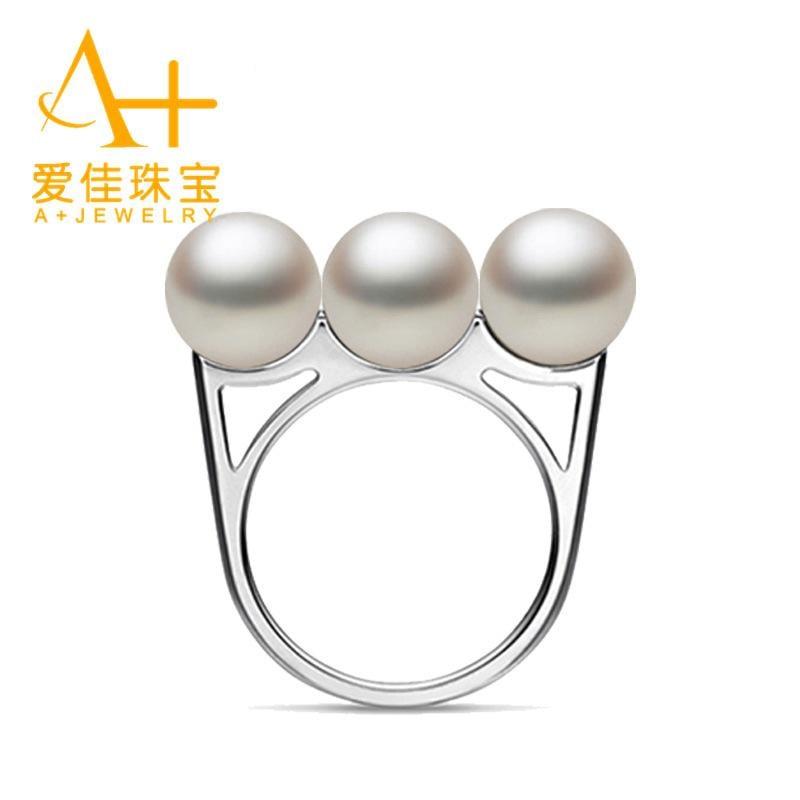 愛佳珠寶 正品925純銀 天然淡水正圓珍珠戒指 送女友