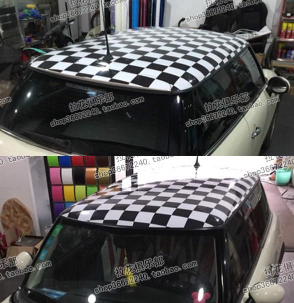 寶馬MINI車貼拉花 MINI COOPER車頂貼 黑白灰米字旗貼紙 車頂貼膜