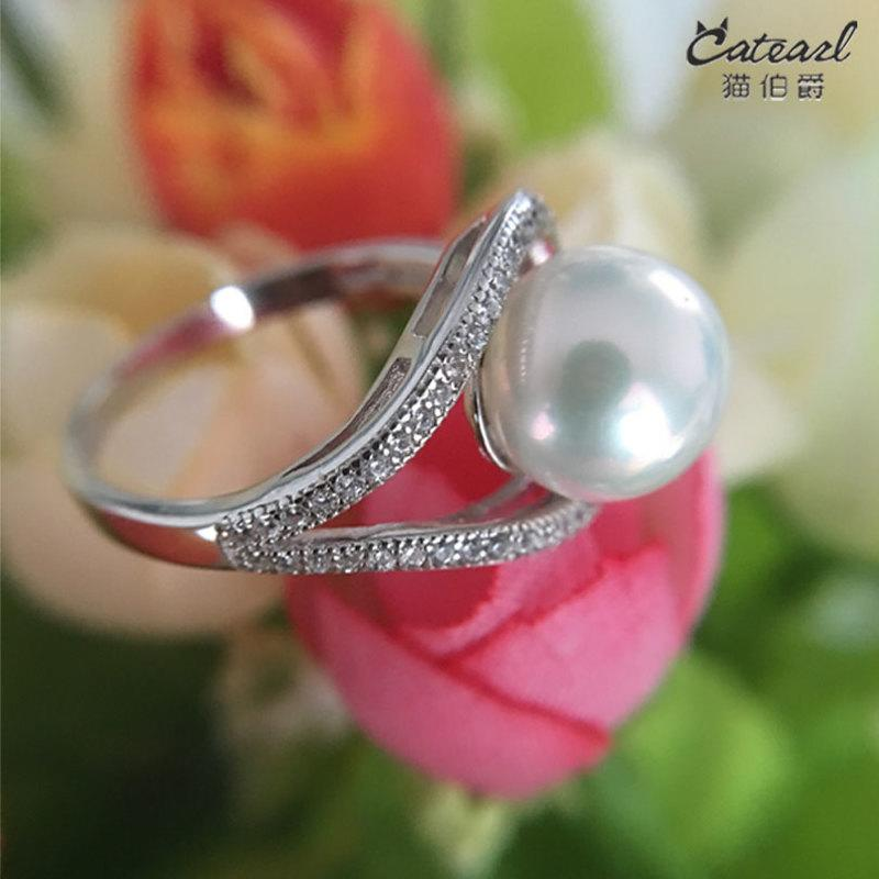 天然淡水正圓無瑕珍珠戒指開口可調節 純銀鑲鑽奢華個明星同款