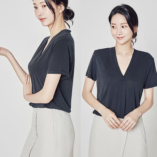 韓國妹 【cb40733】 ❤ (最漂亮的V線條!) 一穿就瘦的完美衫❤ 3色