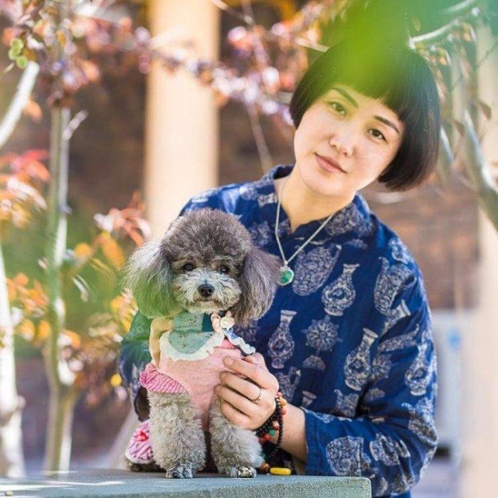 小狗狗牽引繩狗鏈子狗繩子可愛小碎花配蝴蝶結泰迪小型犬項圈