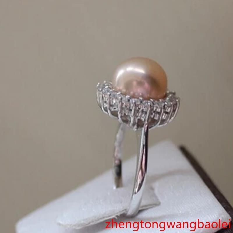 2016正品天然淡水珍珠戒指粉色可調節大小戒指/指環扁圓手飾