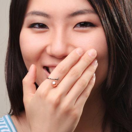 天然淡水珍珠戒指/925純銀/白色7.5-8完美珍珠