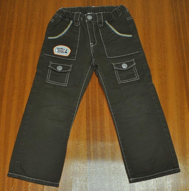 Miki House double b 黑熊墨綠色牛仔褲(110cm)