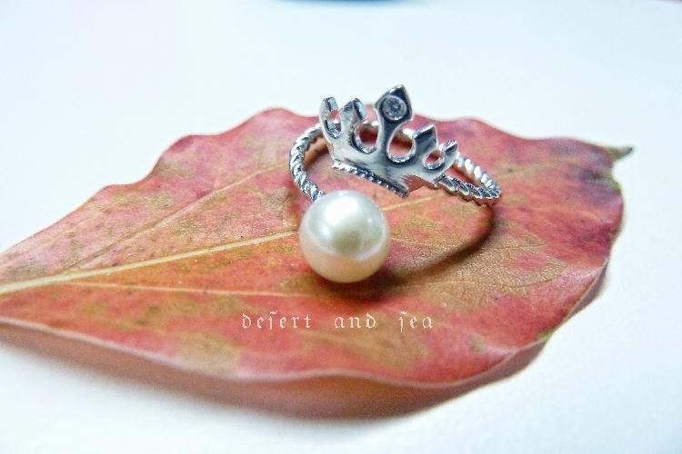 時尚小皇冠 正圓強光無暇天然淡水珍珠純銀戒指 開口可調節 禮物