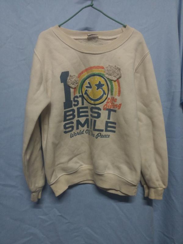 微笑圖案 長袖T-shirt,標13, 長約47公分