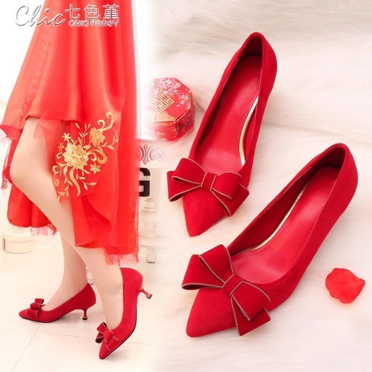 999小舖婚禮鞋 紅色蝴蝶結婚鞋子女百搭新娘紅鞋貓跟高跟婚禮鞋