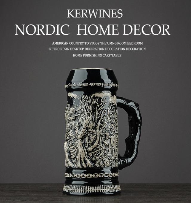 《宇煌》北欧式德国啤酒杯复古创意大酒杯扎啤杯陶瓷浮雕威士忌酒杯酒吧杯_撒旦魔鬼教會