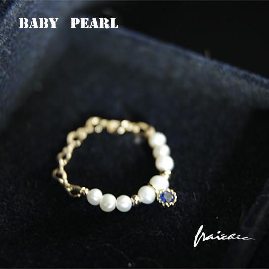 【】天然淡水珍珠戒指美國14注金鋯石吊墜戒指 鋯鑽 女 禮物