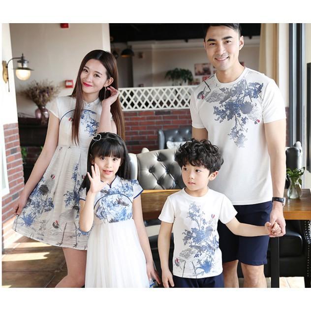 親子裝夏季全家裝母女裝旗袍連衣裙母子裝父女裝父子裝T恤