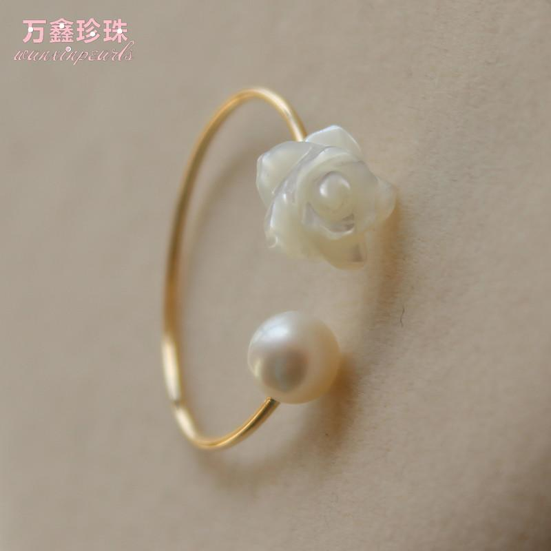 原創 關注上新14注金戒指 天然淡水珍珠配貝殼雕花 珍珠指環批發