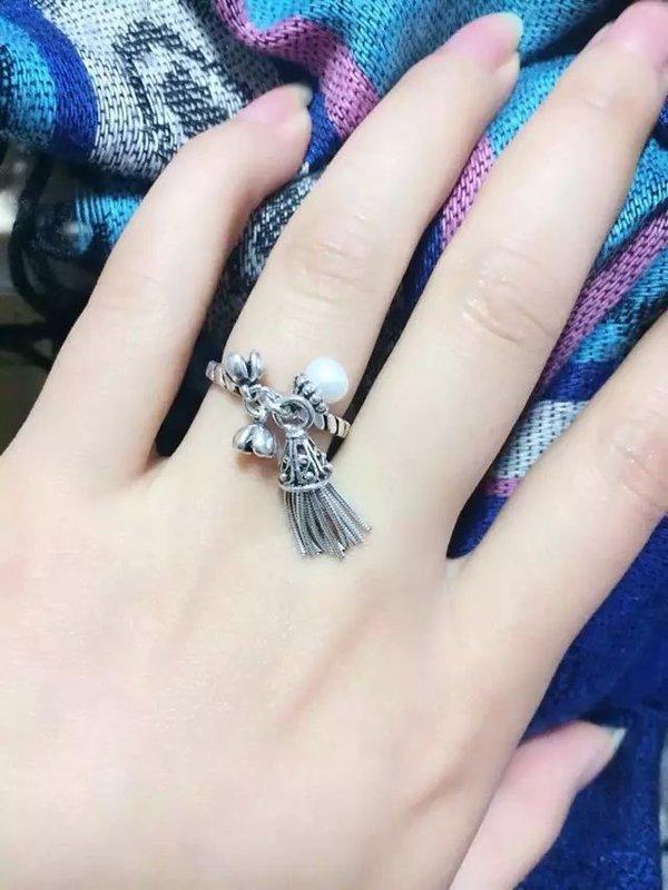 布拉格女款925純銀泰銀天然淡水珍珠桂花流蘇個開口戒指