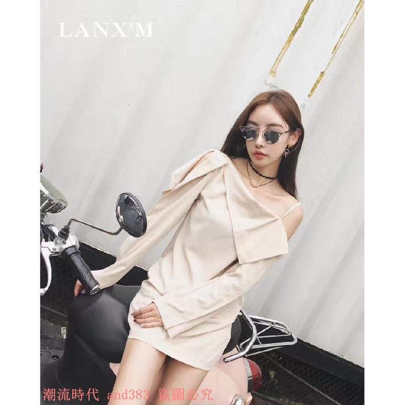 泰國潮牌氣質性感單肩荷葉邊吊帶不規則長袖仿真絲連衣裙女