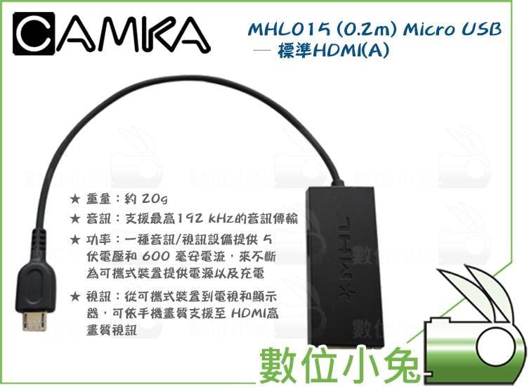 數位小兔【CAMKA MHL015 Micro USB 轉 HDMI(A) 插頭轉換線】傳輸線 轉接座 0.2M 轉接頭