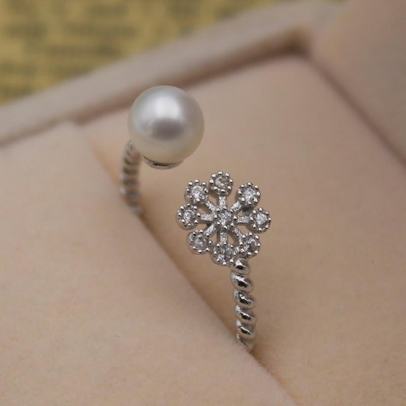 天然淡水珍珠正圓6-7雪花925純銀戒指麻花關節指女 正品女款