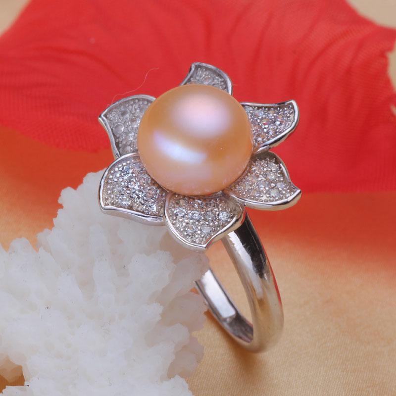【亮麗珍珠】天然淡水11一12珍珠戒指環 925銀鑲嵌