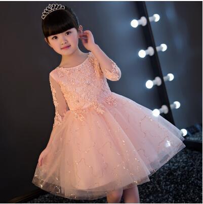 花童晚禮服公主裙大童女童婚紗蓬蓬裙粉色夏季兒童生日鋼琴演出服—自然居家