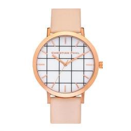 【Christian Paul】澳洲時尚手錶現貨,格紋玫瑰金桃色錶帶43mm,不輸DW、Cluse、COACH,男錶女錶