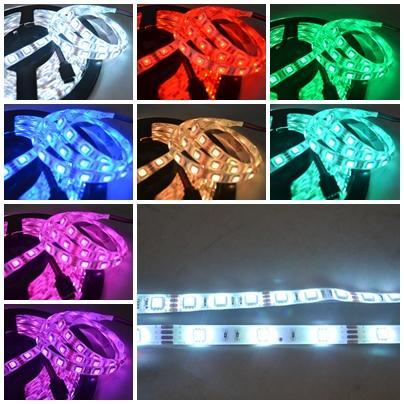 【小工人】5050-54P 軟燈條5米長270顆LED燈 白底RGB七彩燈附控制器 店面酒吧汽機車裝點光亮