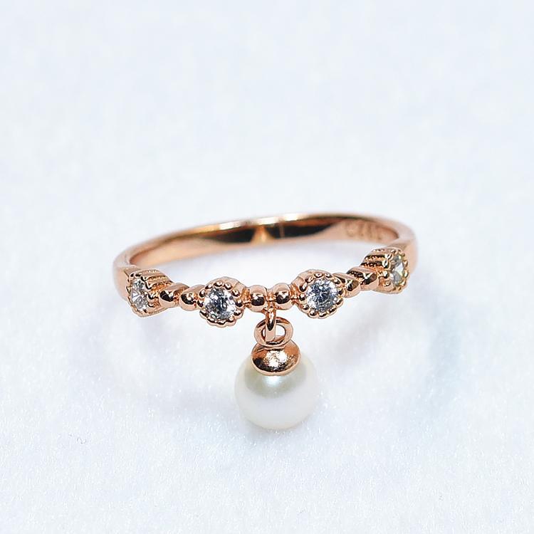 特價 韓國925銀鍍金一字流蘇微鑲鋯石天然淡水珍珠戒指女 玫瑰金
