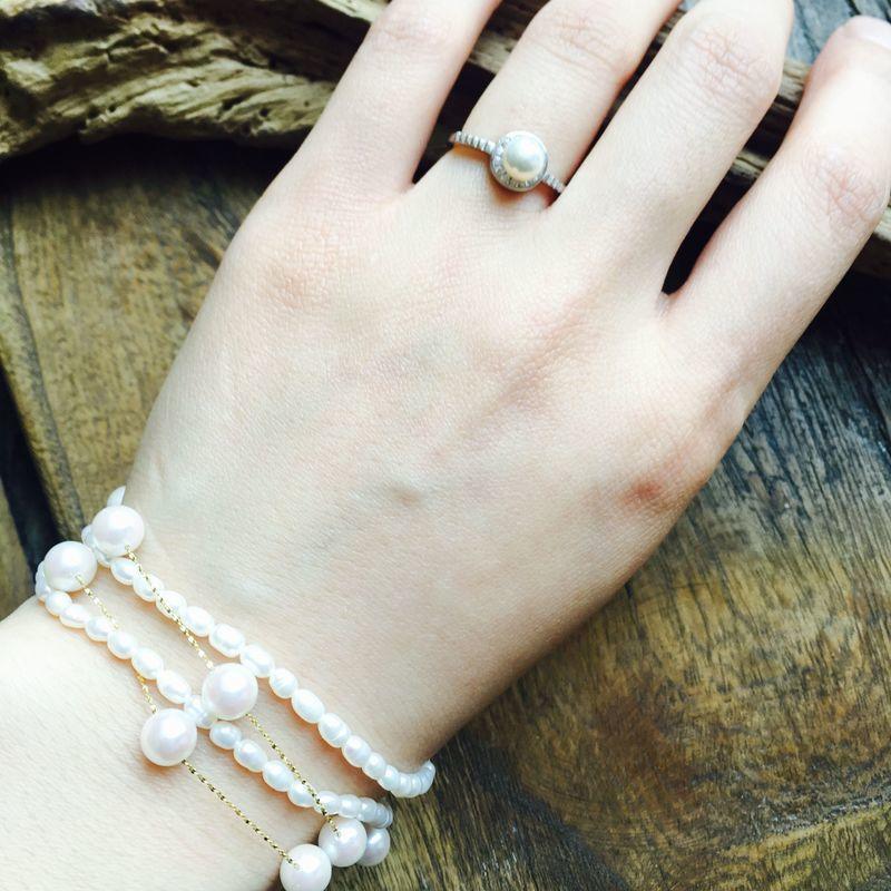412-57 天然淡水珍珠戒指 925銀鑲嵌鋯石 超值 不可調節
